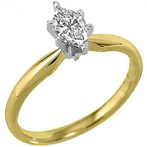 - 14k Yellow Gold .30 Carats Solitaire Marquise Diamond Engagement Ring