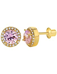 18k Gold Plated Pink Clear Crystal Screw Back Earrings Girls 8mm