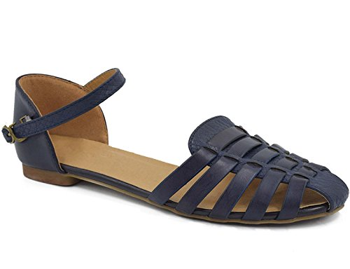 MaxMuxun Womens Roman Ankle Strap Cage Closed Toe Navy Flat Sandals Size 6