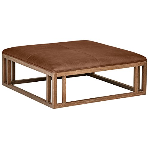 Cheap Stone & Beam Norah Leather and Wood Square Ottoman