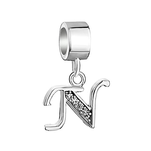 Q&Locket Letter A-Z Charms 925 Sterling Silver Dangle Alphabet Initial Bead For Bracelet (N)