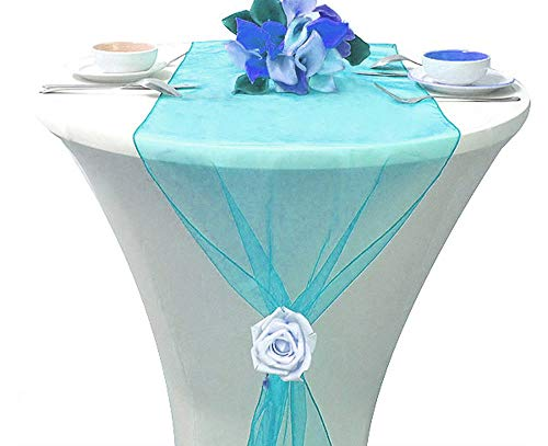mds Pack of 10 Wedding 12 x 108 inch Organza Table Runners for Wedding Banquet Decor Dining Room Table Runner- Turquoise ()