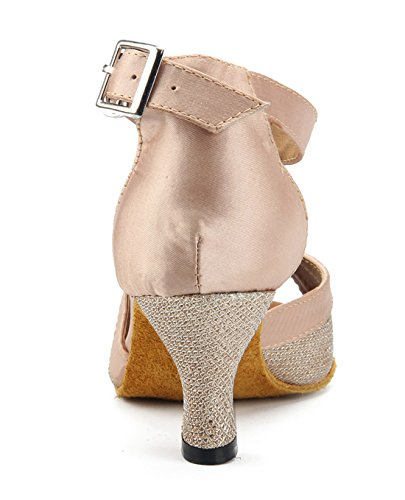 Tda Femmes Mode T-strap Paillettes Satin Salsa Tango Samba Rumba Chaussures De Mariage De Danse Latine Moderne Beige-6cm Talon