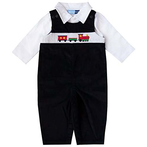 Good Lad Newborn/Infant Boy Black Overall Set with Train Smocking (6/9M)
