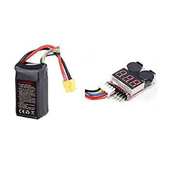 14.8V 1300mAh 60C 4S Li-Po Battery 4 Cell Power Pack Lithium Polymer Fuel Source XT60 (Furious 215-Z-26) and Low Voltage Checker (2S~8S) Alarm Twin Alarms