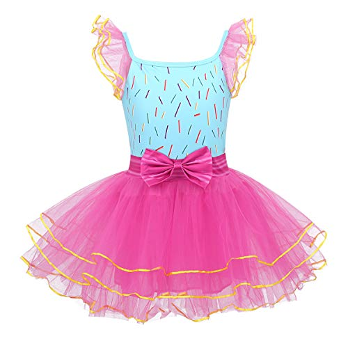 inhzoy Toddler Kids Girls Fairy Tale Costume Cap Sleeve Sweet Tutu Dress for Halloween Cosplay Party Dress up Rose Red&Sky Blue 2-3]()