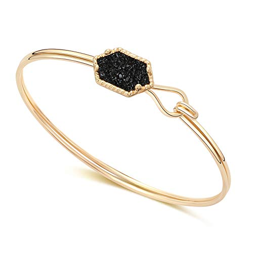 (MissNity Women Girls Open Bangle Bracelet 14k Gold Plated in Black Faux Druzy Stone Sparkly Hexagon Quartz Bracelet (gole+Black))