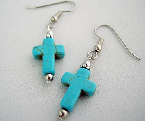 - Cross Drop Earrings Turquoise Blue