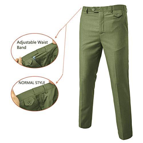YIMANIE Men's Suit Slim Fit 2 Button 3 Piece Suits Jacket Vest & Trousers Olive Green
