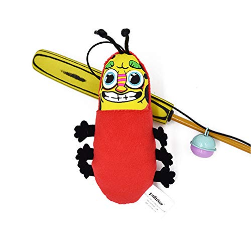 THE MIMI'S Cat Teaser Wand Feather Toy jingle Catnip Pillow Insect Shape Cat Catcher Wand Cat Toy Cat/Kitty/Kitten (insect)
