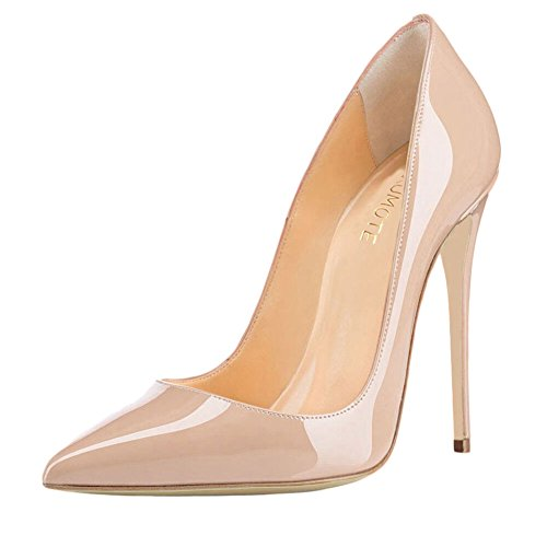 Women Patent Leather Pointed High-heeled Shoes Nude - 1