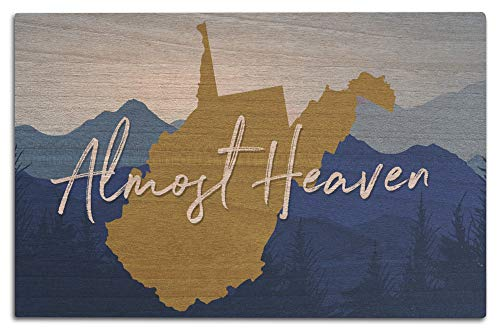 Lantern Press West Virginia - Almost Heaven - State Silhouette and Mountains - Blue and Gold (12x18 Wood Wall Sign, Wall Decor Ready to Hang) (West Heaven Key Blue)