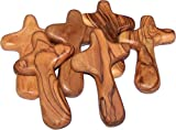 Holy Land Market 6 large handheld olive wood holding comfort Crosses with bags and certificates