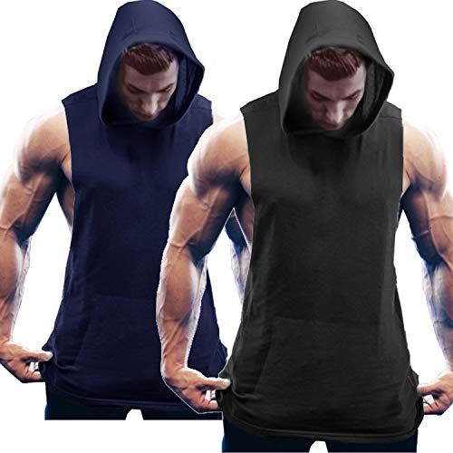COOFANDY Men's 2 Pack Workout Hooded Tank Tops Bodybuilding Muscle Cut Off T Shirt Sleeveless Gym Hoodies (Sleeveless Hoodie Gym)
