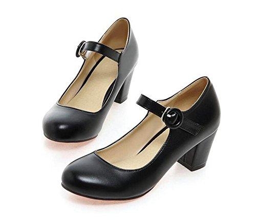 XIE Buckle Zapatos de Tacón Alto Resorte Dedo del pie Redondo para Ayudar a los Zapatos de Ocio de Gran Tamaño de Las Mujeres, Meters White, 42 BLACK-43