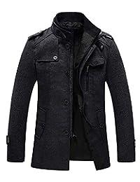 Wantdo Men's Wool Blend Pea Coat Single Breasted Thicken Warm Peacoat Jackets