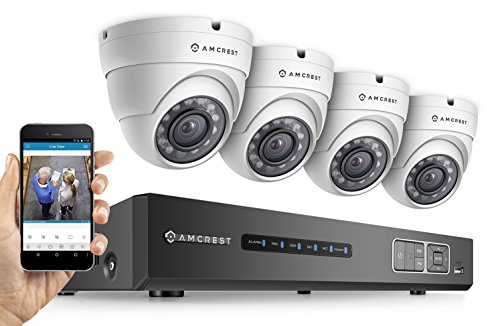 Amcrest Full-HD 1080P 4CH Video Security System - Four 1920TVL 2.1-Megapixel Weatherproof IP67 Dome Cameras, 65ft IR LED Night Vision, 2TB HDD, HD Over Analog/BNC, Smartphone View (White)