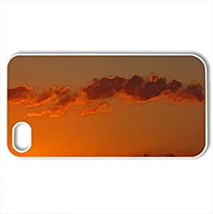 Red sky - Case Cover for iPhone 4 and 4s (Sunsets Series, Watercolor style, White) by lolosakes