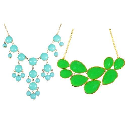(Wrapables Green Drop Shape Bubble Statement Necklaces + Sky Blue Mini Bubble Bib Statement Necklace)