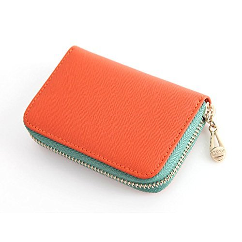 Leather Accordion Zipper Name Card Wallet Useful Credit Card Wallets Small Purse (Orange)