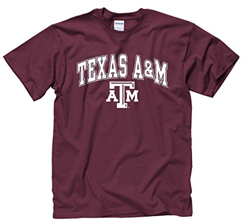 Campus Colors NCAA Adult Arch & Logo Soft Style Gameday T-Shirt (Texas A&M Aggies - Maroon, X-Large)