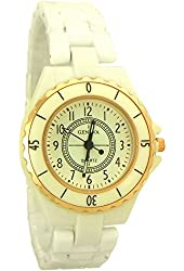 Geneva Women's smaller size Ceramic Quartz Watch white and rose gold tone - 1