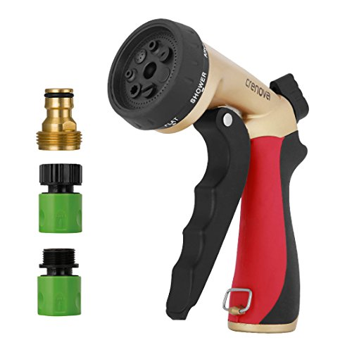 Spray Nozzle | Crenova HN-05 Garden Hose Nozzle Sprayer Gun - 7 Spraying Modes - Easy Flow Control Knob - Metal Nozzle High Pressure for Car Washing / Plant Watering / Sidewalk Cleaning / Pet Bathing by CRENOVA