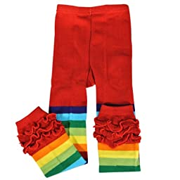 Wrapables Rainbow Ruffle Toddler Leggings - Red 115cm