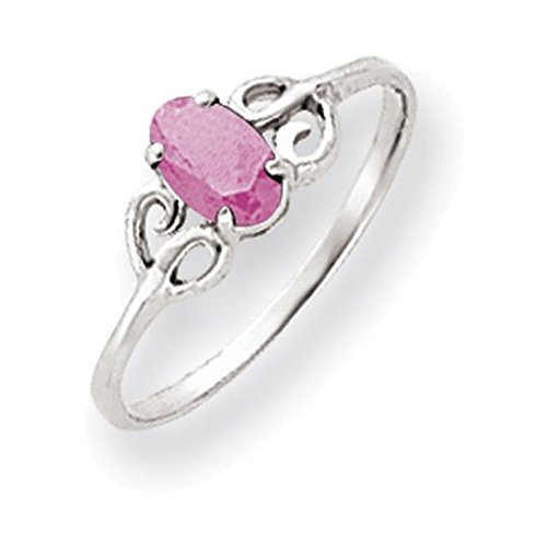 Jewelry Adviser Rings 14k White Gold 6x4mm Oval Pink Tourmaline ring
