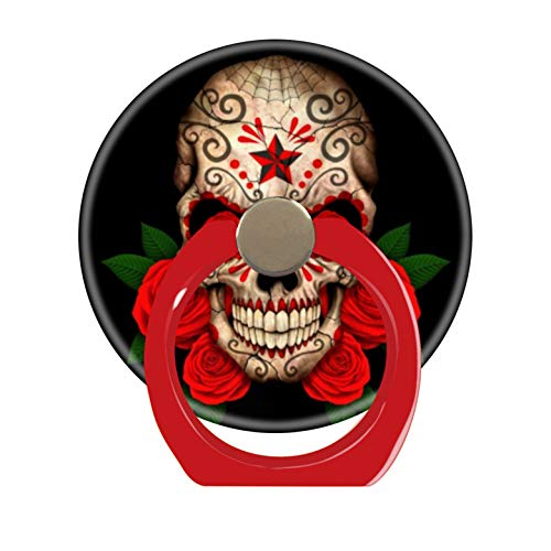 LoveStand-Cell Phone Ring Holder 360 Degree Finger Ring Stand for Smartphone Tablet and Car Mount-Dark Sugar Skull with red Roses