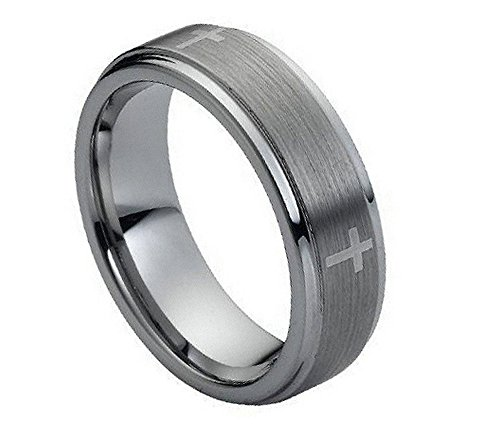 7mm - Man or Ladies - Tungsten Carbide stepped edge brushed center with Cross Wedding Band Ring (Carbide Cross Tungsten Plated)