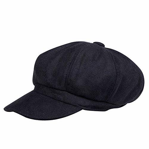 VBIGER Men and Women's Woolen Fedora Newboys Hat (Black) -