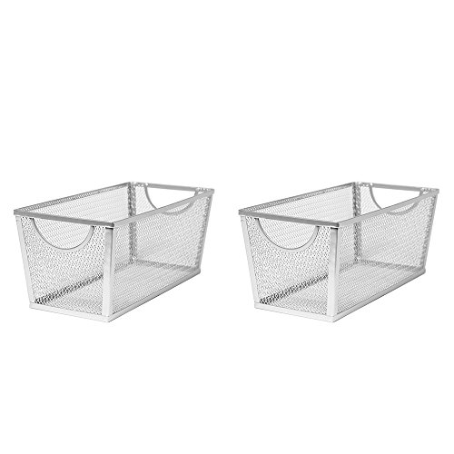 Seville Classics Medium Wire Nesting Utility Shelf Storage Basket, 14