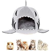 Koobee - Cama en forma de tiburón para gato y perro, lavable, encantadora cueva, cómoda casa con cojín extraíble…