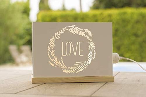 60watios.com caja luminosa letras/cajas de metal y madera natural, cuadros de led para regalos originales mujer, decoración, cumpleaños mensajes personalizados (hogar es dónde sea que estemos juntos): Amazon.es: Hogar