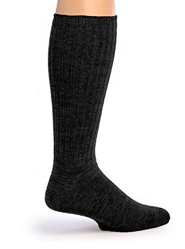 Warrior Alpaca Socks - Men's Ribbed Everyday Alpaca Wool Crew Socks (Charcoal -