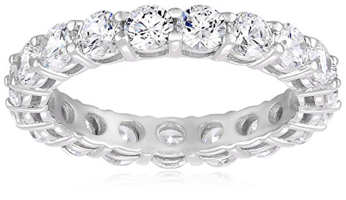 Platinum-Plated Sterling Silver All-Around Band Ring set with Round Swarovski Zirconia (3 cttw), Size -