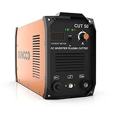 """SUNCOO Cut 50 Plasma Cutter Electric DC Inverter Cutting Machine with Digital Display Dual Voltage 110/220V, 1/2"""" Clean Cut"""