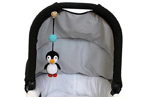 Penguin Stroller toy, pram toy, car seat toy, crochet baby rattle, pram decoration, stroller mobile, clip (Penguin Stroller)
