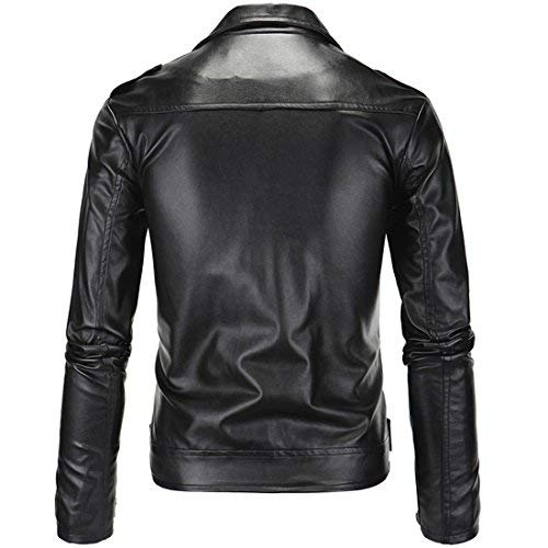 Mens Causal Belted Design Slim Pu Leather Biker Zipper Jacket Coat Faux Leather Motorcycle Jacket (Tag L=US S) by DUBUK (Image #1)