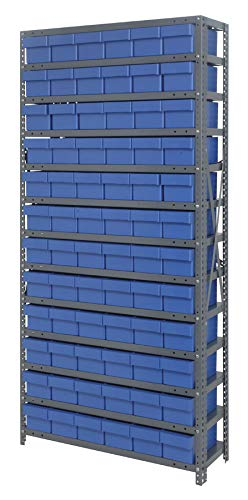 Quantum Storage Systems - Steel Shelving Unit with Bins - - 72 Qed601 Blue - L x W x H - 12'' x 36'' x 75'' - - 1 - Steel - Part Number:1275-601BL