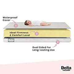 Delta Children's Twinkle Stars Crib & Toddler Mattress offers your baby or toddler support and comfort at a great price. Built with a firm polyester fiber core, this sturdy mattress is has a durable waterproof cover for easy cleanup. Fini...