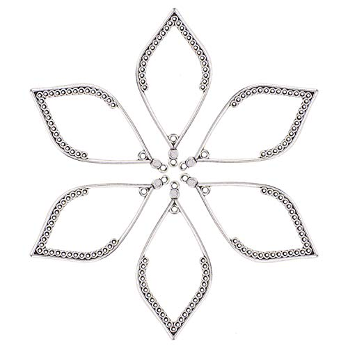 (Monrocco 50Pcs Leaf Shape Frame Chandelier Connector Charms for Earring Chandelier Findings 50x27mm.)