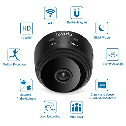 Cheap WiFi Spy Camera, JOYTRIP Wireless HD 1080P Mini Hidden Camera Home Security Nanny Cam Built-in Battery Spy Cam with Motion Detection/Night Vision/Cell Phone APP for iPhone/iPad/Android (No Card)