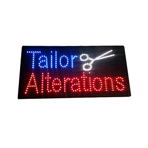 LED Tailoring Alterations Sewing Open Light Sign Board Super Bright Electric Advertising Display Banner for Boutique Business Retail Shop Store Window 24 x 12 inches