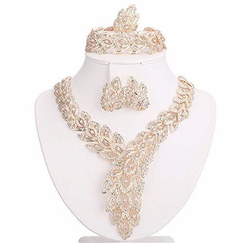 Moochi-18K-Gold-Plated-Scarf-Shaped-Crystal-Chain-Necklace-Ring-Jewelry-Set