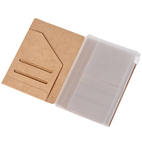 Zipper Case & Kraft Folder Refill Inserts Pack for Passport Size Travelers (File Business Card Pocket Refills)