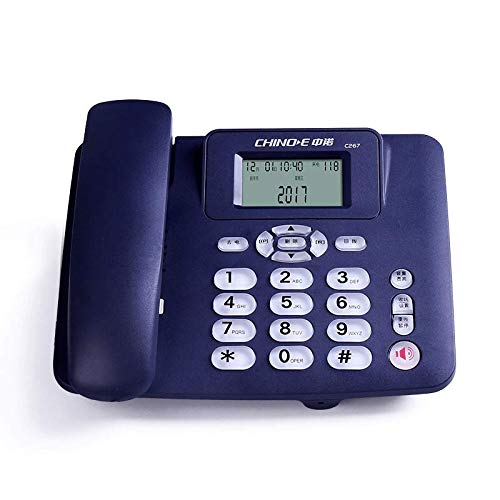 DQMSB Fixed Telephone Family Landline Office Hotel Room Wired Telephone Hands-Free Calling Call Transfer Dual Interface Port Alarm Clock LCD Screen Brightness Adjustment (Color : Blue)