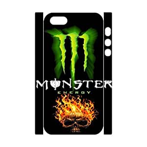 Special Design Cases iphone5 5S 3D Cell Phone Case White Monster Energy Bujop Durable Rubber Cover