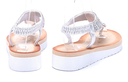 Schuhtempel24 Damen Schuhe Zehentrenner Sandalen Sandaletten Keilabsatz Ziersteine 4 cm Silber